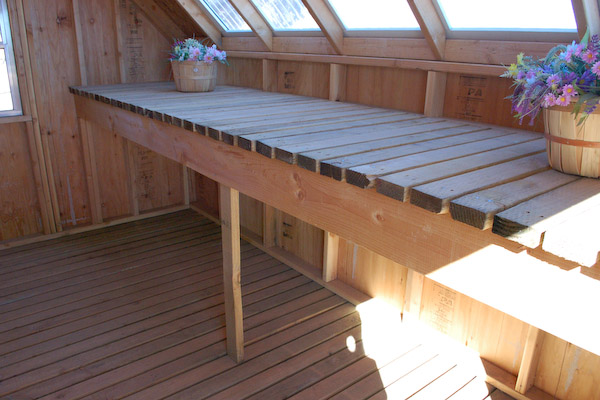 greenhouse table, building a greenhouse table, garden shed plans