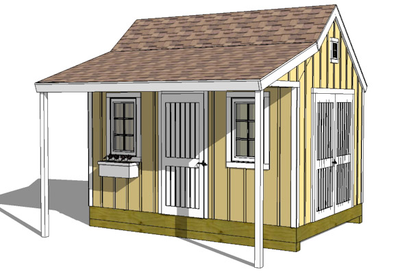 10x14-CCP Cape Cod New England Shed plans with porch front elevation