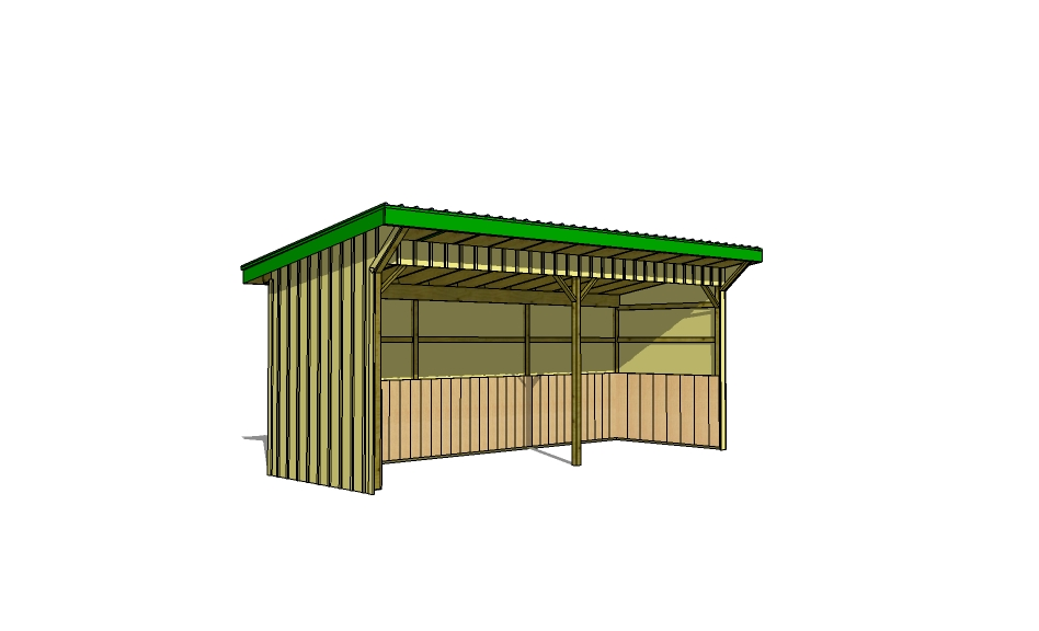 8x24 Run In Shed Plans and Front Elevation