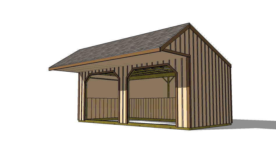 run in shed for livestock with cantilevered covered front porch