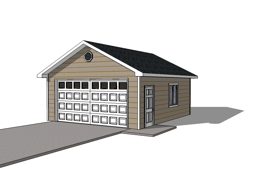 Detached garage plans 20x22 garage single door for Detached garage blueprints