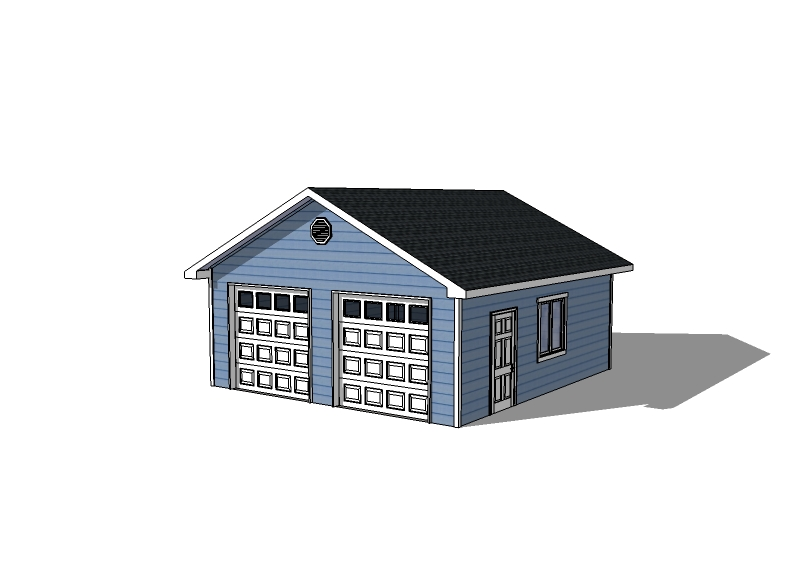 Detached garage plans 22 22 garage with 2 doors for Building a two car garage