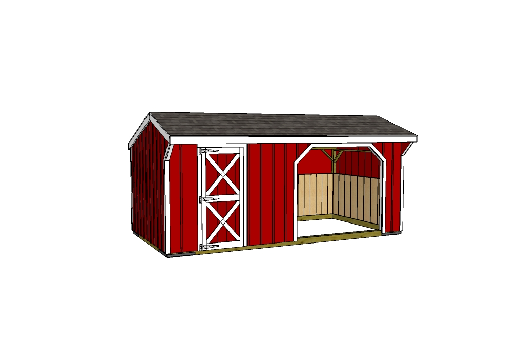 10x12 Run In Shed With 10x8 Tack Room