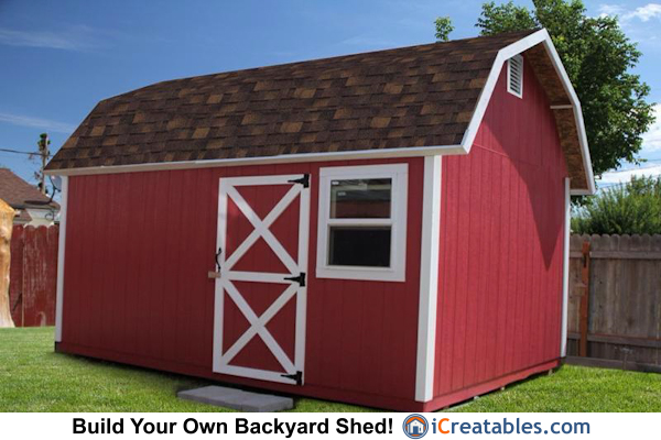 10x16 Gambrel Shed front elevation. Little Red Barn