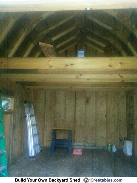 12 16 small barn gambrel shed built in ohio for Gambrel shed plans with loft