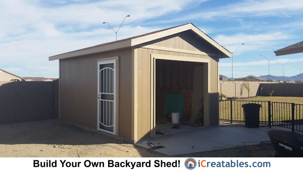 12x16 Shed with garage door built in Arizona
