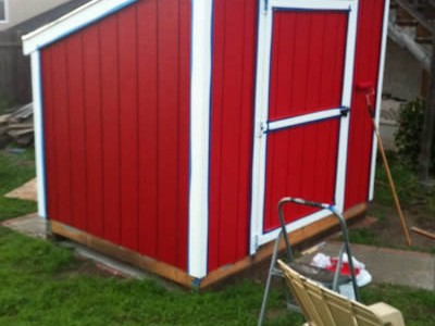 6x8 lean to short shed. Designed to be less than 8' tall so it complies with city height restrictions.