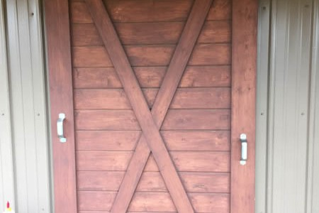Horse Barn Hanging Door with sliding door hardware
