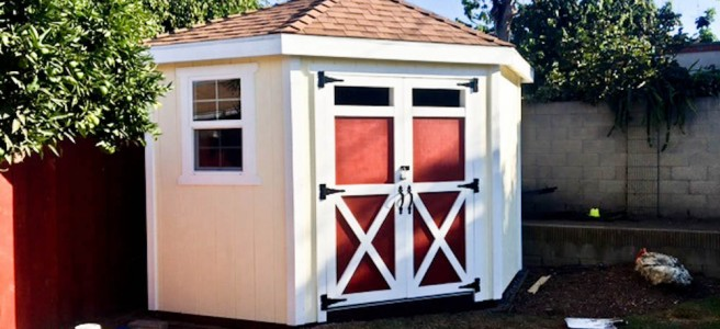 5 sided shed plan with hip roof by iCreatables.com