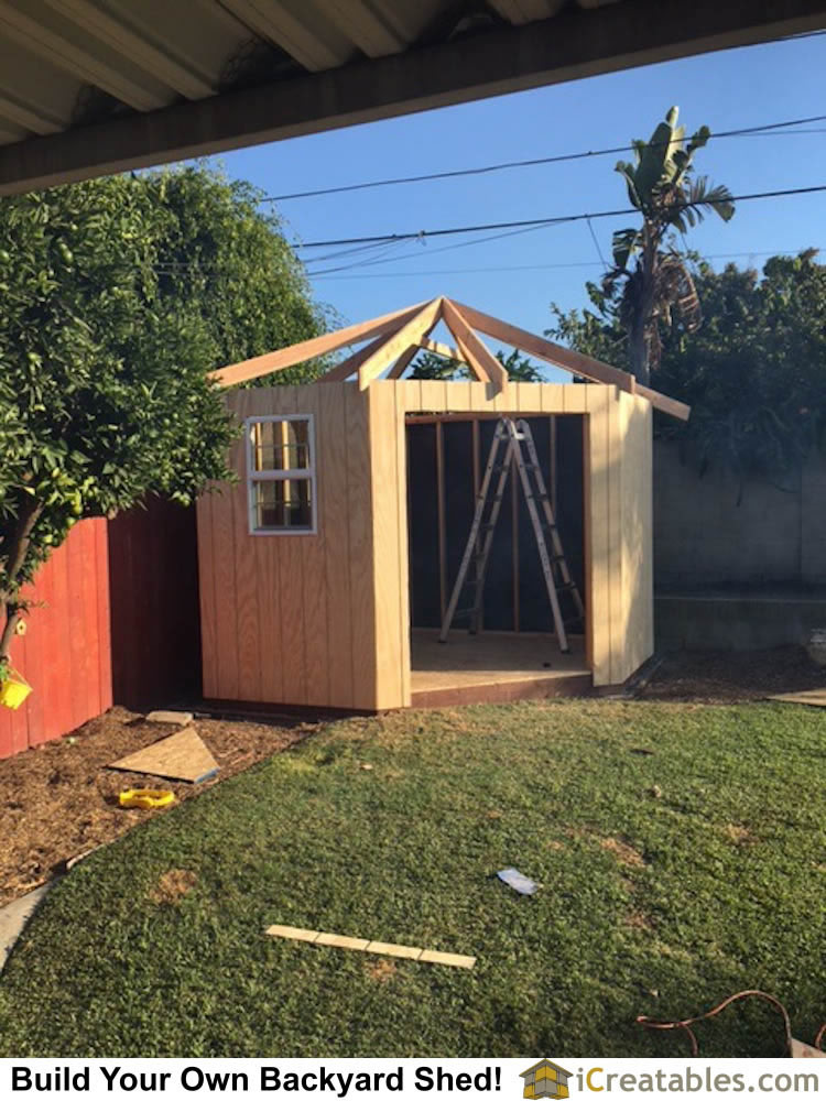 5 Sided Corner Hip Roof Shed Plan Built In California