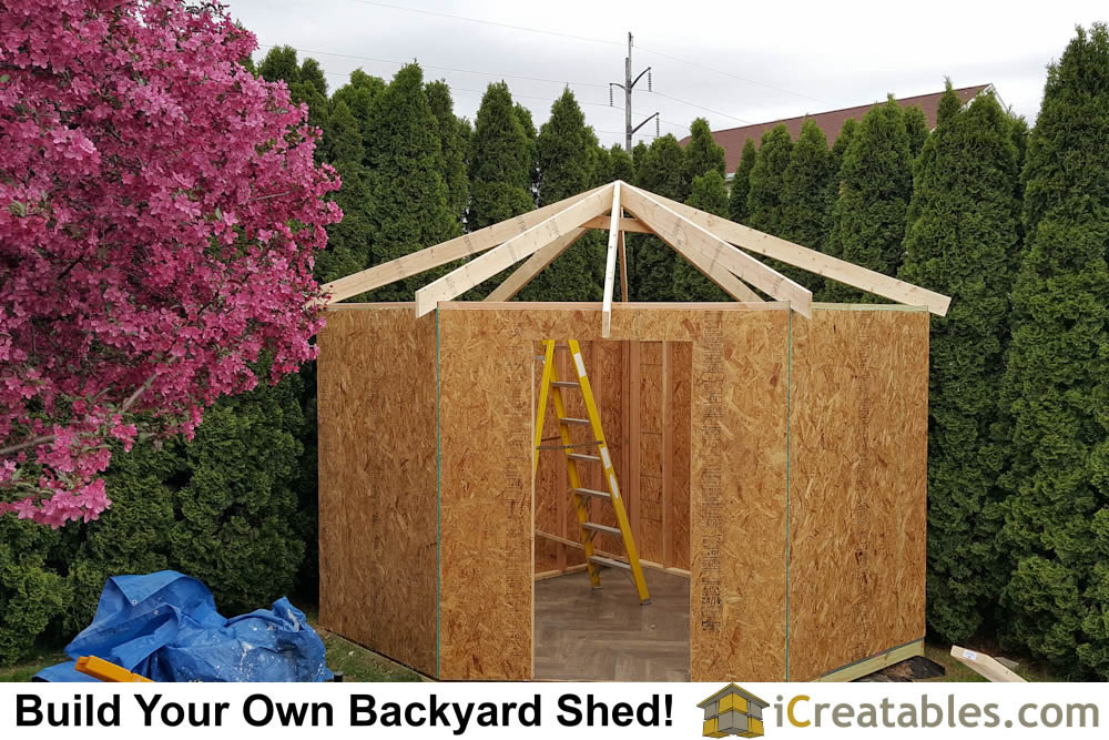 10x10 Shed Plan With Corner Hip Roof Design Built In