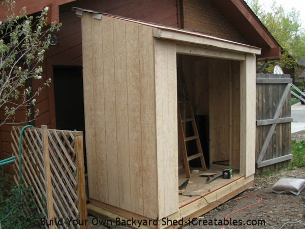 siding installed around shed door