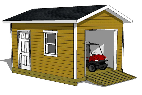 12 16 shed plans with garage door for Gable garage plans