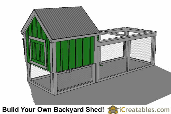 4x4 chicken coop plans gable roof rear side