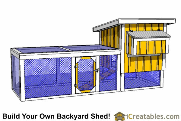 4x4 chicken coop with lean to roof