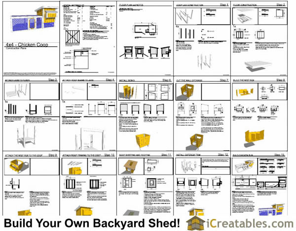 4x4 Chicken Coop Lean To Plans   Simple To Build for 6 Chickens