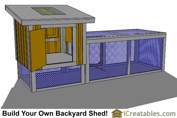 4x4 chicken coop with run rear view