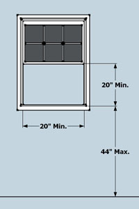 single hung window egress