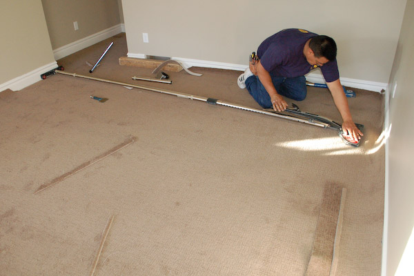stretching carpet with carpet stretcher