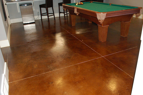 stained concrete shed and basement flooring