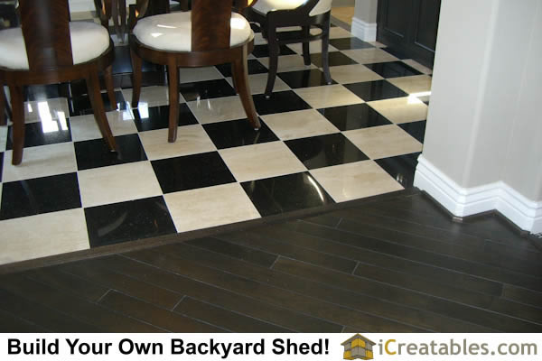 wood and tile flooring