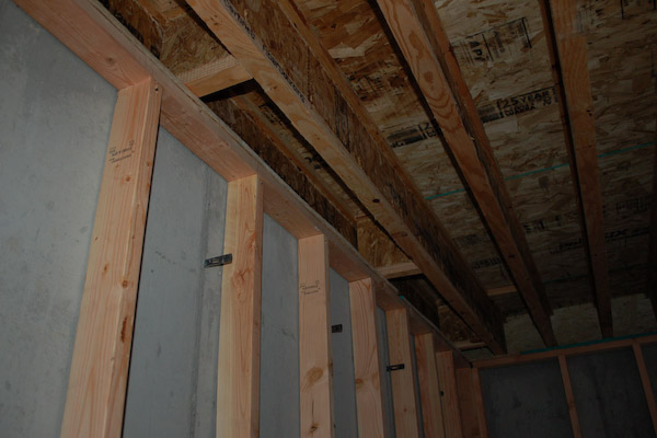 basement wall framing joist blocking
