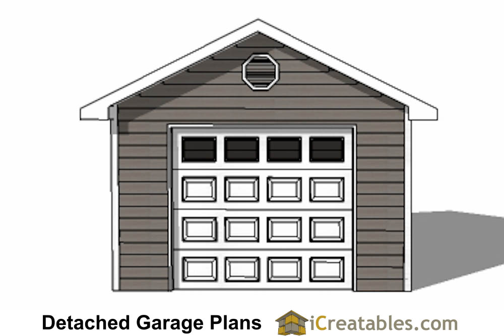 14x20 garage plans 1 car 1 door detached garage plans for Single car detached garage plans
