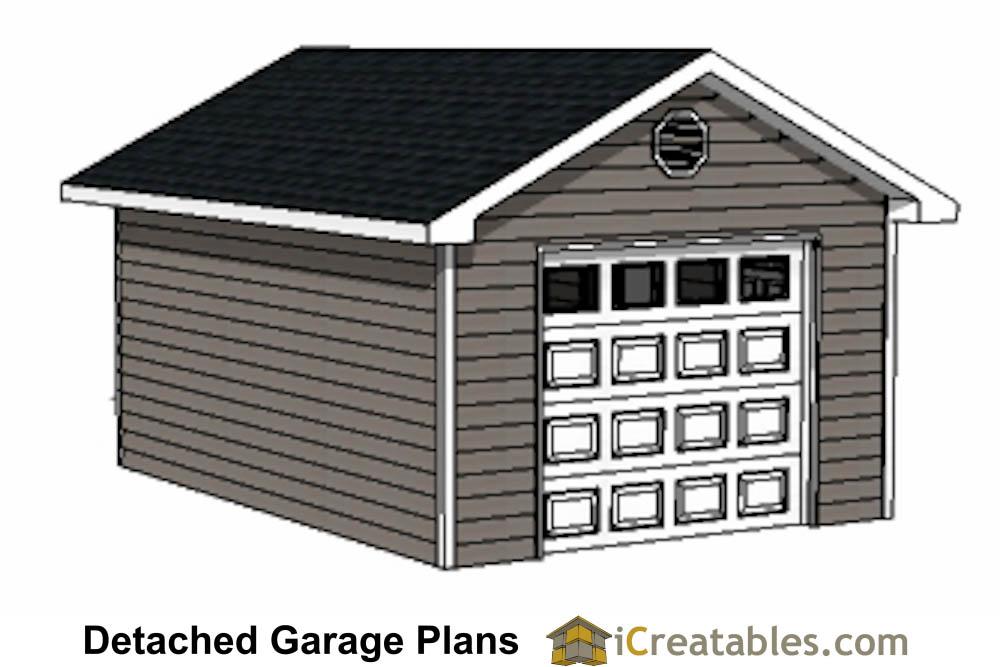14x20 garage plans 1 car 1 door detached garage plans for Single car detached garage