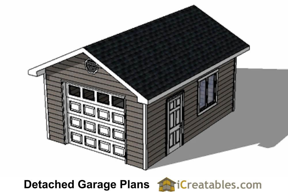 14x20 Garage Plans - 1 Car 1 Door Detached Garage Plans