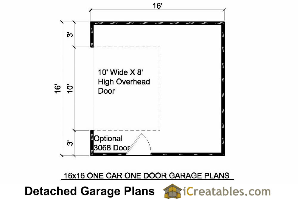 16x16 garage plans 1 car 1 door detached garage plans for Garage door plans free