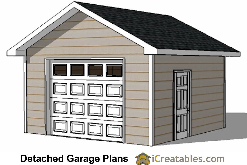 16x16 Garage Plans 1 Car 1 Door Detached Garage Plans