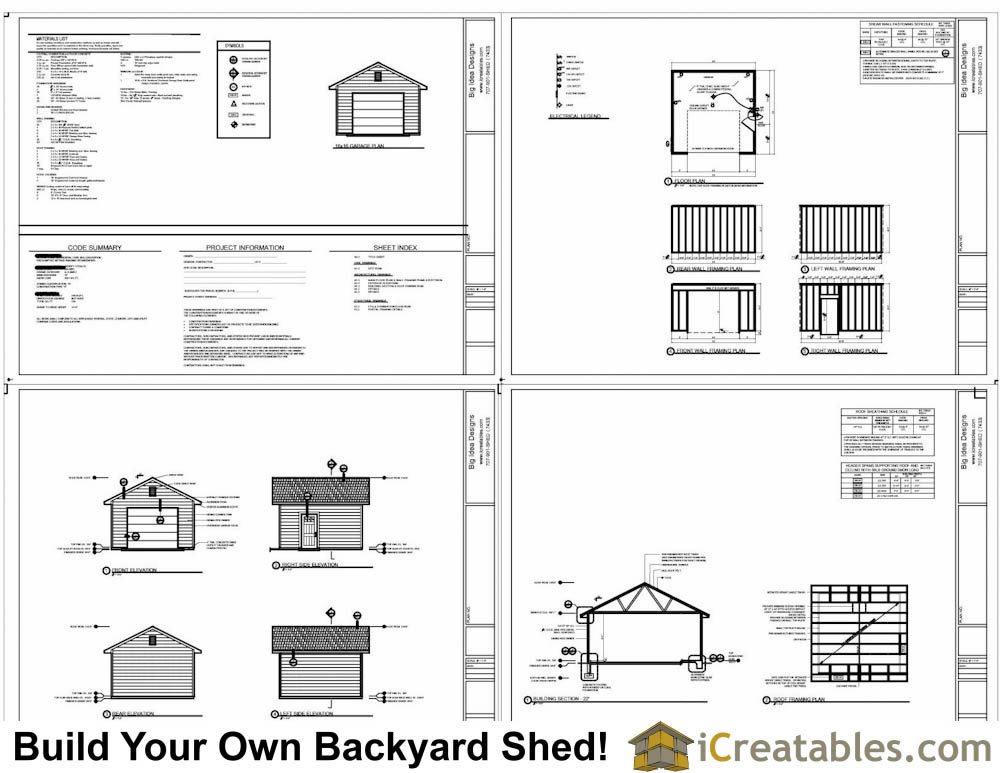 16x16 garage plans 1 car 1 door detached garage plans for Single car detached garage plans