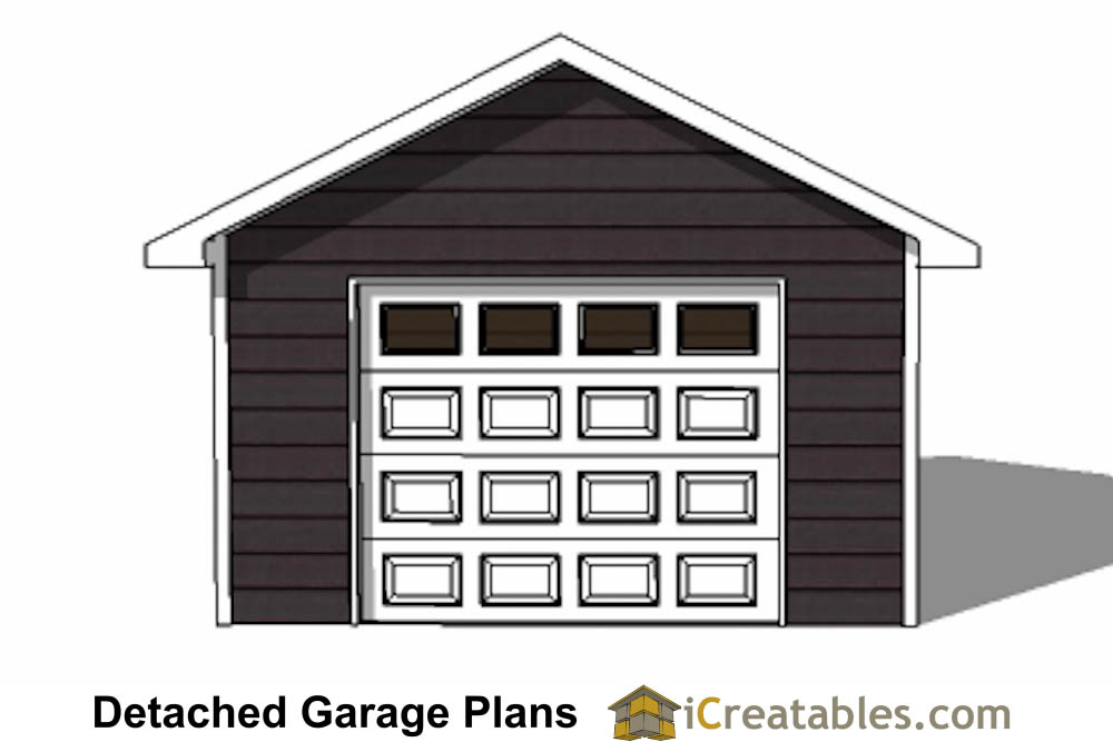 16x20 1 car 1 door detached garage plans for 8 car garage plans