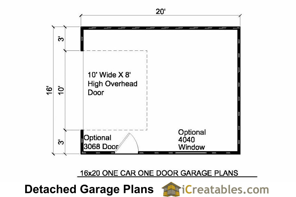 16x20 1 car 1 door detached garage plans for Single car detached garage plans