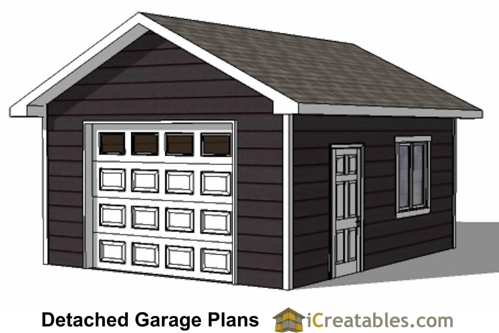 16x20 1 car 1 door detached garage plans for Garage plans with storage