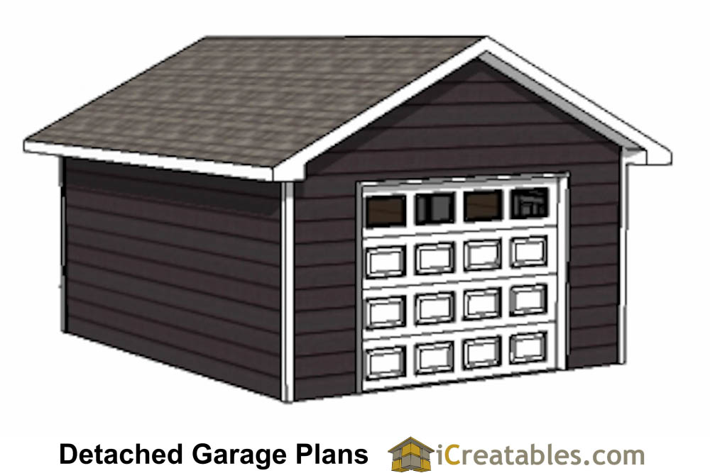 16x20 1 car 1 door detached garage plans for 16 car garage