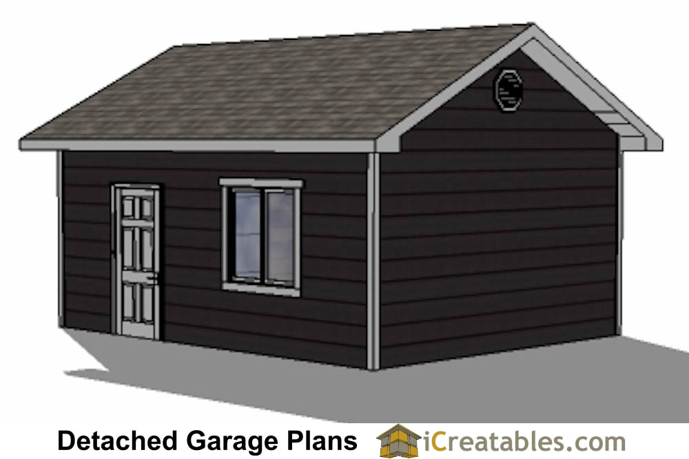 16x20 1 car 1 door detached garage plans