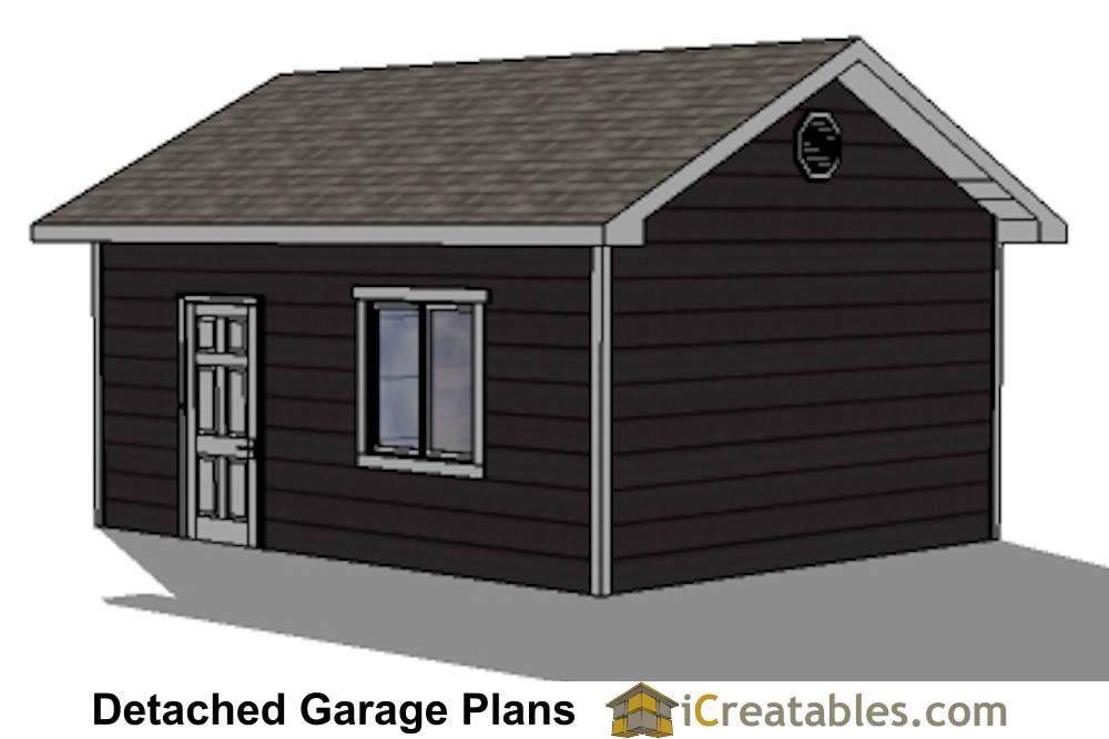 16x20 1 car 1 door detached garage plans for 14 foot tall garage door