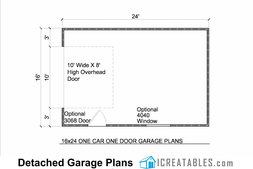 16x24 detached garage plans build your own garage for 16 x 24 window