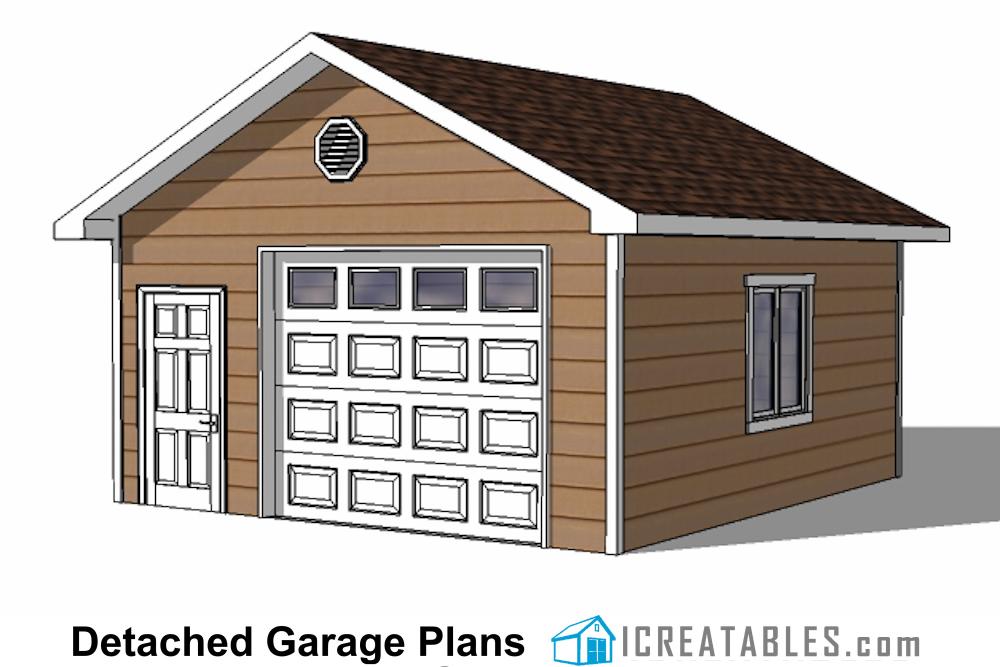 18x20 1 Car Detached Garage Plans