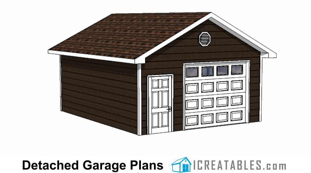18x24 1 car detached garage plans for Material list for garage
