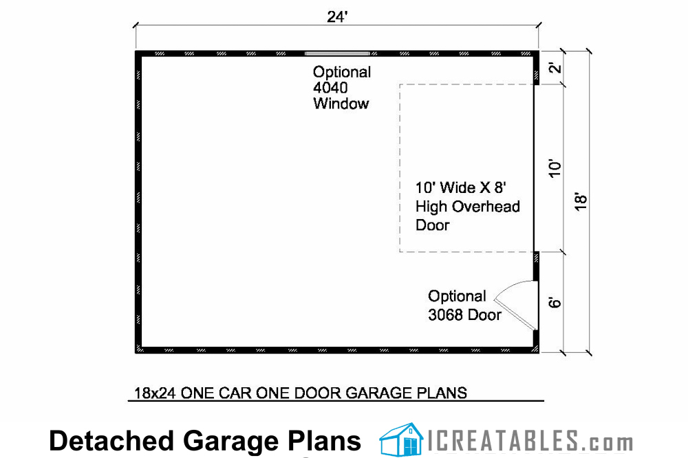 18x24 1 car detached garage plans for Garage door plans free