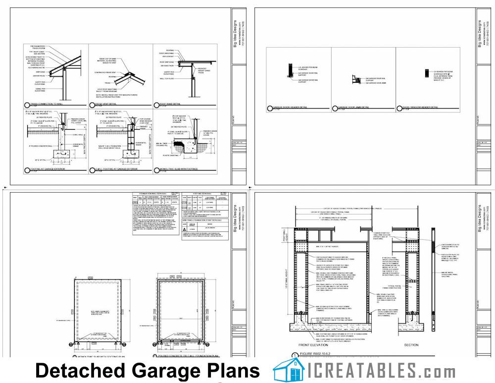 18x24 1 Car Detached Garage Plans