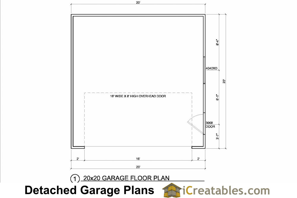 20x20 garage plans 2 car 1 door detached for Two car garage with workshop plans