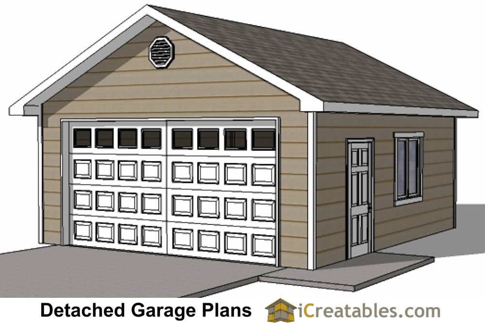 20x20 2 car 1 door detached garage plans for 1 1 2 car garage plans