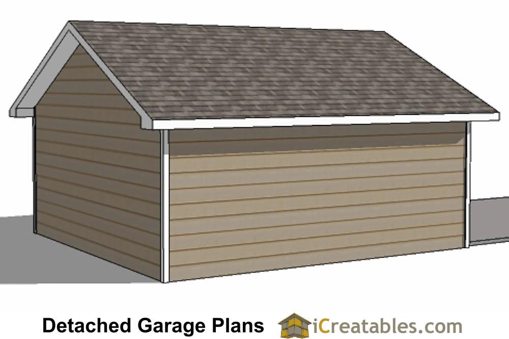 20x20 2 car 1 door detached garage plans for 20x20 garage