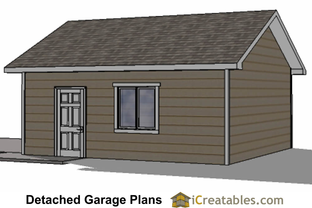 20x20 2 car 1 door detached garage plans for Single car detached garage plans