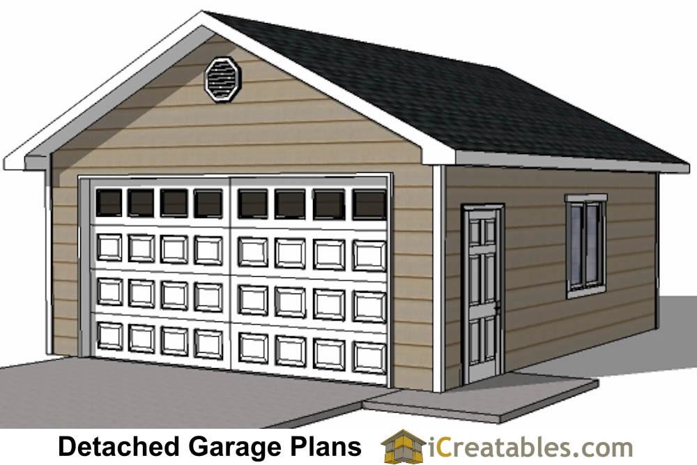 20x22 Garage plans with single door. DIY 2 Car Garage Plans   24x26  amp  24x24 Garage Plans
