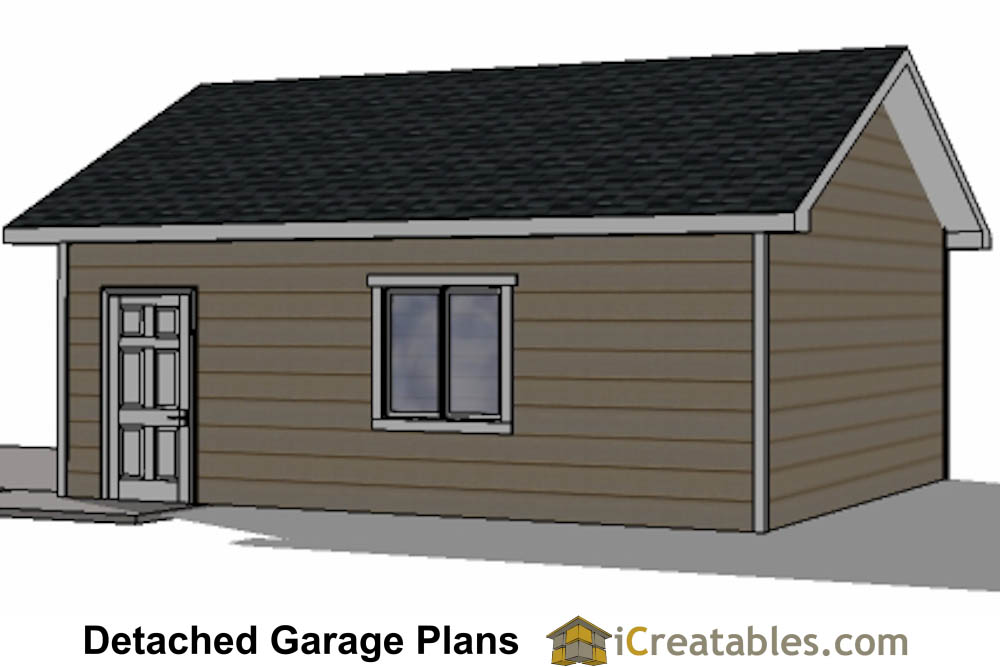 20x20 garage plans 2 car 1 door detached for Single car detached garage plans