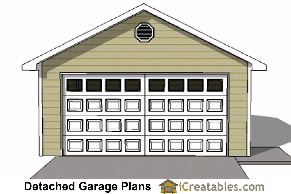 Front Elevation With Garage : Car detached garage plans download and build